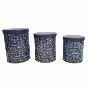 Nesting Tin Canisters Winter Scenes Blue Houses Trees